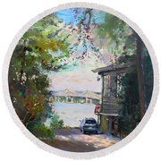 The House By The River Round Beach Towel