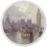 The Houses Of Parliament From Westminster Bridge Round Beach Towel by Alberto Pisa