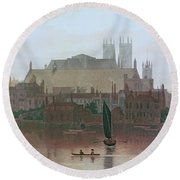 The Houses Of Parliament Round Beach Towel by George Fennel Robson