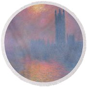 The Houses Of Parliament London Round Beach Towel by Claude Monet