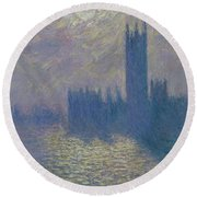 The Houses Of Parliament Stormy Sky Round Beach Towel
