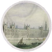 The Houses Of Parliament Round Beach Towel by Thomas Hosmer Shepherd