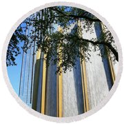 The Houston Water Wall And Williams Tower Round Beach Towel