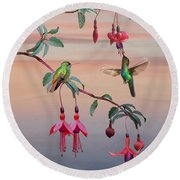 The Hummingbird Fuchsia Round Beach Towel