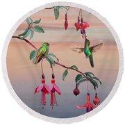 The Hummingbird Fuchsia Round Beach Towel
