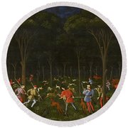The Hunt In The Forest Round Beach Towel