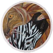 Round Beach Towel featuring the painting The Hunter by Amy Gallagher