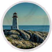 The Iconic Lighthouse At Peggys Cove Round Beach Towel by Ken Morris