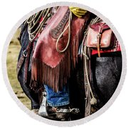 The Idaho Cowboy Western Art By Kaylyn Franks Round Beach Towel