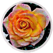 Round Beach Towel featuring the mixed media The Imperfect Rose by Glenn McCarthy