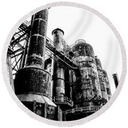 The Industrial Age At Bethlehem Steel In Black And White Round Beach Towel by Bill Cannon