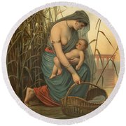 The Infant Moses And His Mother Round Beach Towel