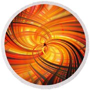Round Beach Towel featuring the photograph The Inferno by Cathy Donohoue