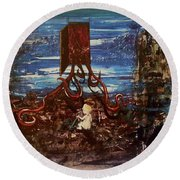 Round Beach Towel featuring the painting The Inhuman Condition by Reed Novotny