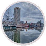 Round Beach Towel featuring the photograph The Inner Harbor On A Sunday Cloudy Morning by Mark Dodd