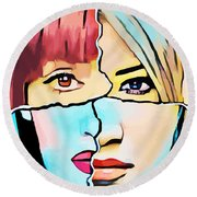 The Inner Struggle Split Personality Abstract Round Beach Towel