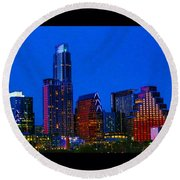 The #instaawesome #austin #skyline On A Round Beach Towel