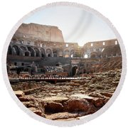 The Interior Of The Roman Coliseum Round Beach Towel