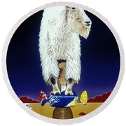The Intoxicated Mountain Goat Round Beach Towel