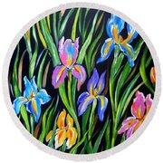 The Irises Round Beach Towel
