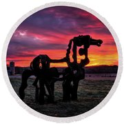The Iron Horse Sun Up Round Beach Towel by Reid Callaway