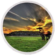 Round Beach Towel featuring the photograph The Iron Horse Sunset by Reid Callaway