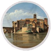 The Island And Bridge Of San Bartolomeo Round Beach Towel