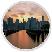 The Island Of Manhattan  Round Beach Towel