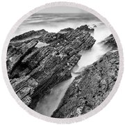The Jagged Rocks And Cliffs Of Montana De Oro State Park In Cali Round Beach Towel