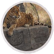 Round Beach Towel featuring the painting The Jaguar King by Alan M Hunt