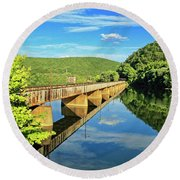 The James River Trestle Bridge, Va Round Beach Towel