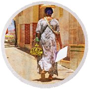 Round Beach Towel featuring the photograph The Jewelry Seller - Malaga Spain by Mary Machare