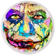 The Joker Grunge Round Beach Towel by Daniel Janda