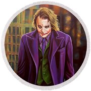 The Joker In Batman  Round Beach Towel by Paul Meijering