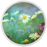 The Joy Of Summer Flowers Round Beach Towel