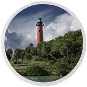 The Jupiter Inlet Lighthouse Round Beach Towel