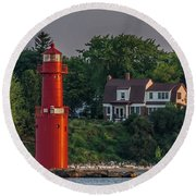 The Keeper Of The Lighthouse Round Beach Towel