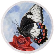 Round Beach Towel featuring the painting The Keeper Of The Rose by Sam Sidders
