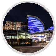 Round Beach Towel featuring the photograph The Kentucky Center For The Performing Arts by Randy Scherkenbach