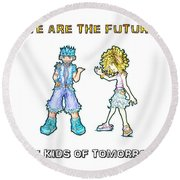 Round Beach Towel featuring the digital art The Kids Of Tomorrow Toby And Daphne by Shawn Dall