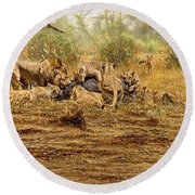 Round Beach Towel featuring the painting The Kill by Alan M Hunt