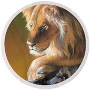 Round Beach Towel featuring the painting The King by Sherry Shipley