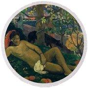 The Kings Wife Round Beach Towel by Paul Gauguin