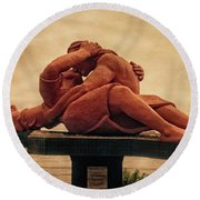 Round Beach Towel featuring the photograph The Kiss - Peru by Mary Machare