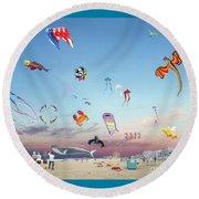 The Kite Festival Ocean City Md Round Beach Towel