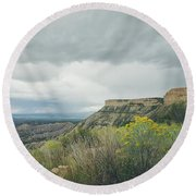 Round Beach Towel featuring the photograph The Knife's Edge by Margaret Pitcher