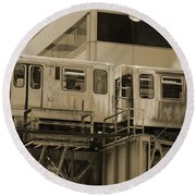 The L Downtown Chicago In Sepia Round Beach Towel