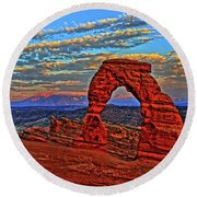 Round Beach Towel featuring the photograph The La Sal Mountains And Arch by Scott Mahon