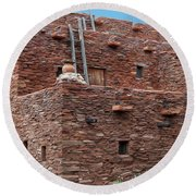 Round Beach Towel featuring the photograph The Ladders Of The Hopi House by Kirt Tisdale