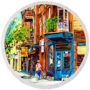 Round Beach Towel featuring the painting The Lady In Pink by Carole Spandau